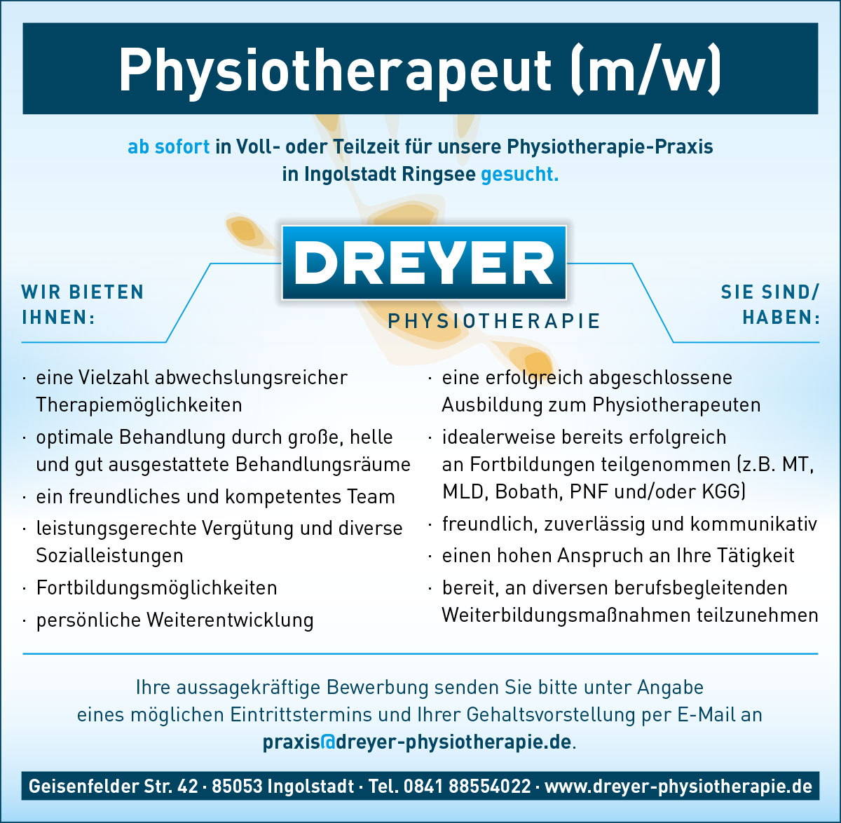 Physiotherapeut gesucht